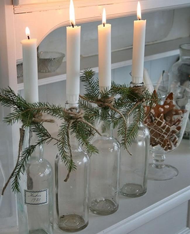 12 ideas para reciclar botellas de vino en navidad winesur - Botellas con velas ...