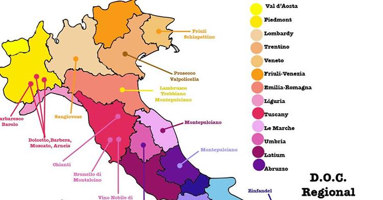 8 Mapas de vinos de Italia  vinopack